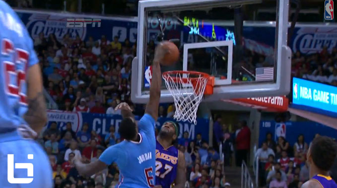 Jordan Hill scores 22 & gets dunked on by DeAndre Jordan a couple of times