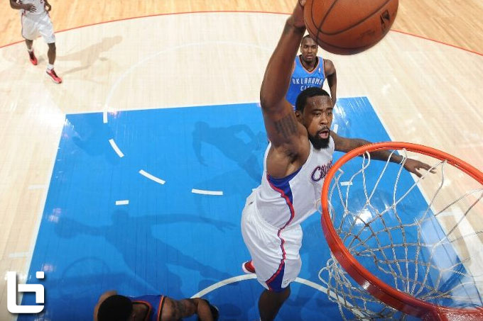 DeAndre Jordan misses a wide-open dunk during the Clippers/Thunder Dunkathon