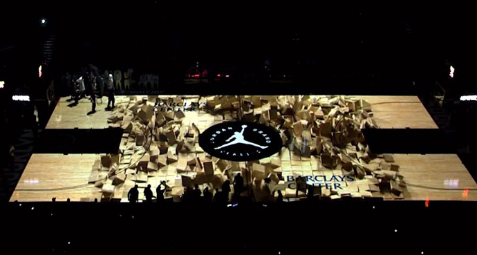 Awesome 3D video projection on court at Jordan Brand Classic Game