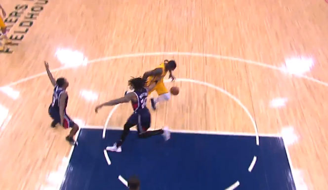 Lance Stephenson with the behind the back crossover & step back jumper on Cartier Martin
