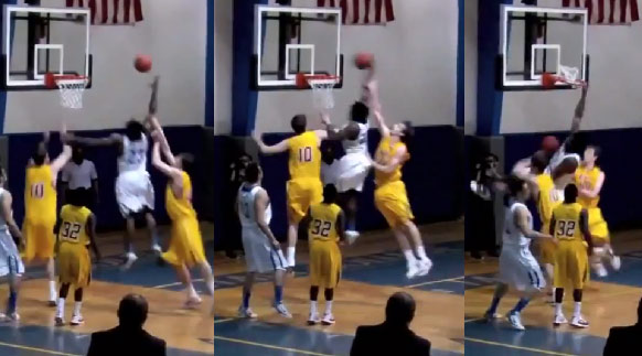 6'3 Michael Craig off the glass dunk on 2 7 footers