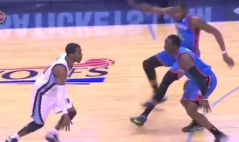 Mike Conley wore a wooden hat & some how made Kevin Durant fall