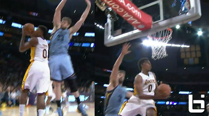 Nick Young 360 reverse layup – no airball this time