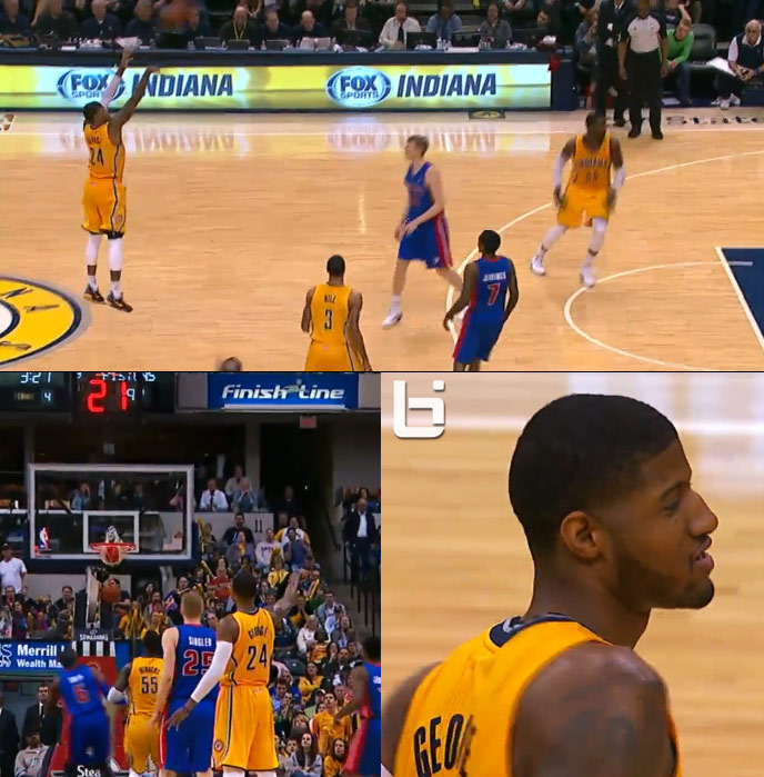 Paul George shoots a jumper from almost half-court