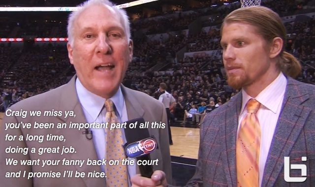 Gregg Popovich's unexpected touching interview with Craig Sager's son during Spurs/Mavs game