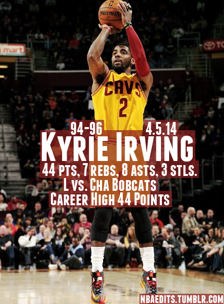Kyrie Irving scores career high 44 points vs Bobcats