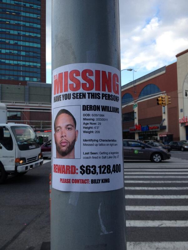Deron Williams missing persons poster posted outside of Barclays – Missing Persons Poster