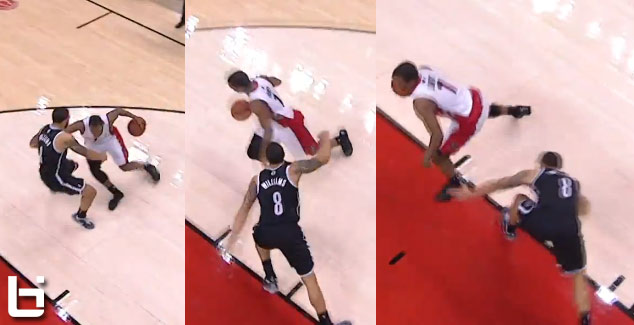 Kyle Lowry scores playoff career high 36 & breaks Deron Williams' ankles