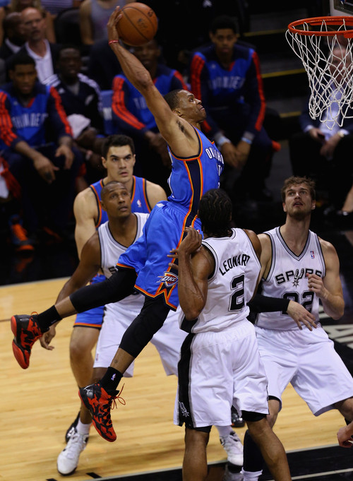 russell westbrook throws down an emphatic dunk in game 5