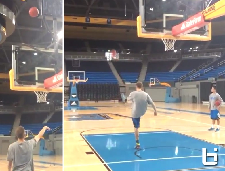 UCLA's Bryce Alford with the over the backboard then full court kick/trick shot