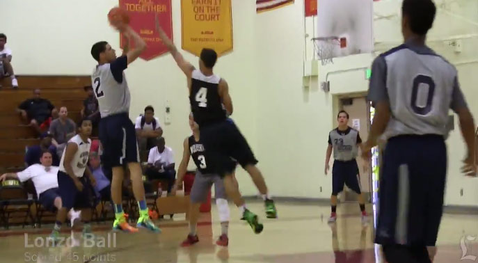 Lonzo Ball (class of 2016) scores 45 in summer game