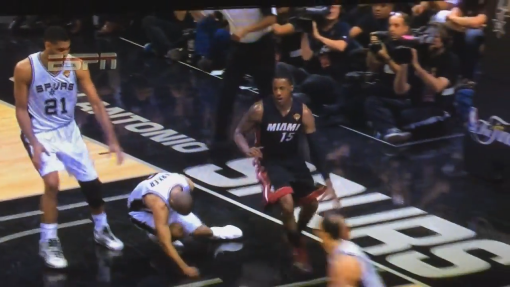 Mario Chalmers Elbows Tony Parker in Game 2