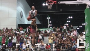 Young Hollywood Dunk Over Girl Standing On Chair