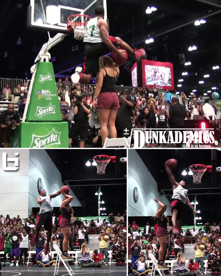 One of the best dunk contest dunks of all-time! Young Hollywood between the legs over a girl standing on a chair at Sprite/Bet Awards