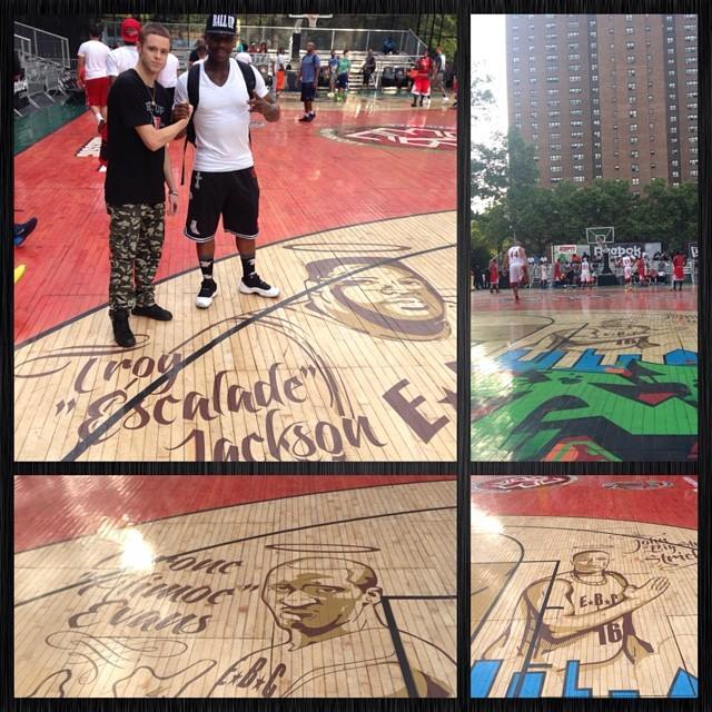 The New EBC Rucker Park floor pays tribute to Streetball legends Escalade, Alimoe & Big Strick
