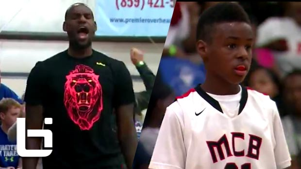 LeBron James Cheers On His Son (Who Looks JUST Like Him) During in 4th Grade AAU Championship Game