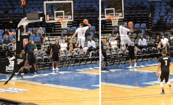 Zach LaVine puts on a dunk exhibition for TWolves' fans (self off the glass oop)