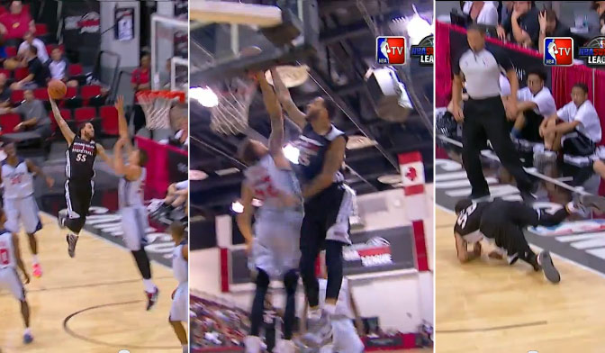 Bradley Beal learns who Daniel Theis is after a huge block on Tyler Honeycutt's dunk attempt