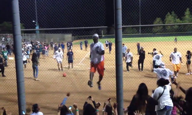 JR Smith shows off his hops after a home run at Chris Brown's Kickball Event