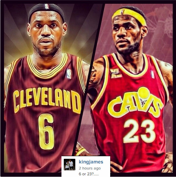 LeBron asking fans if he should wear #6 or #23 next season