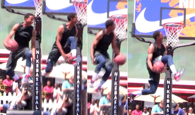 Is it possible? Jonathan Clark attempts a 360 double between the legs dunk!