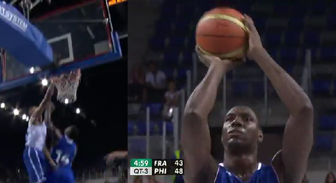 Ian Mahinmi gets dunked on & then airballs 2 free throws vs Philippines