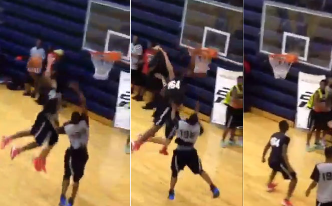 14 year old Jalen Preston posterizes defender at CP3 camp