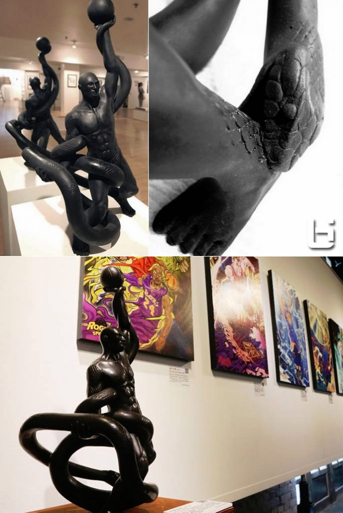 Kobe statue with a black mamba biting his achilles + more great art at Conscious 3 Exhibit