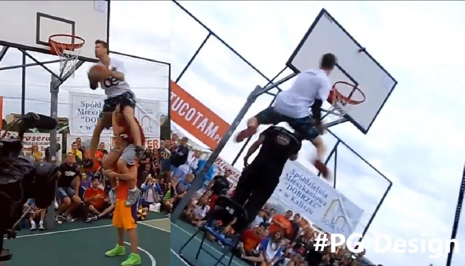 Did Lipek really do a 720 & an elbow dunk over guy standing on a chair