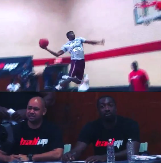 2014 College Dunk Contest winner Marcus Lewis impresses Gilbert Arenas