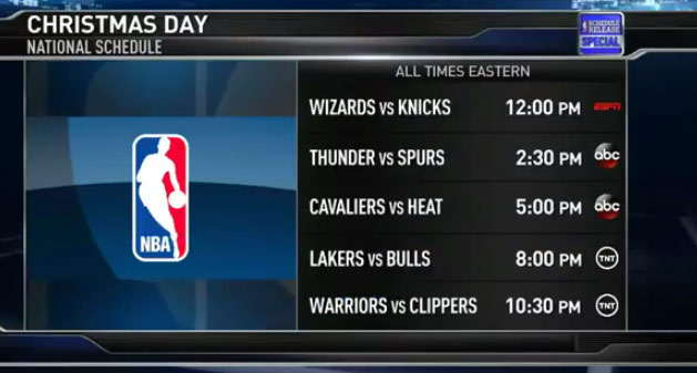 Nba Christmas Day Schedule.2014 15 Nba Schedule Highlights Opening Day Christmas