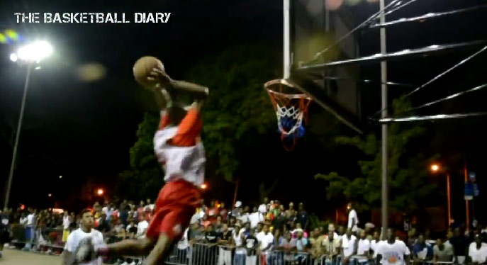 NYC High School Streetball: Rashond Salnave & Unique McLean off the backboard alley-oop dunk