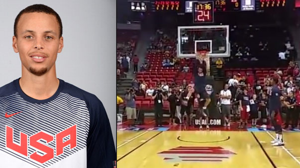Stephen curry reverse dunk off the bounce at usa showcase game
