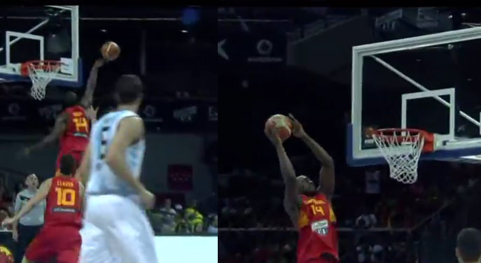 Serge Ibaka blocks a shot then catches an oop from Rubio | Spain vs Argentina