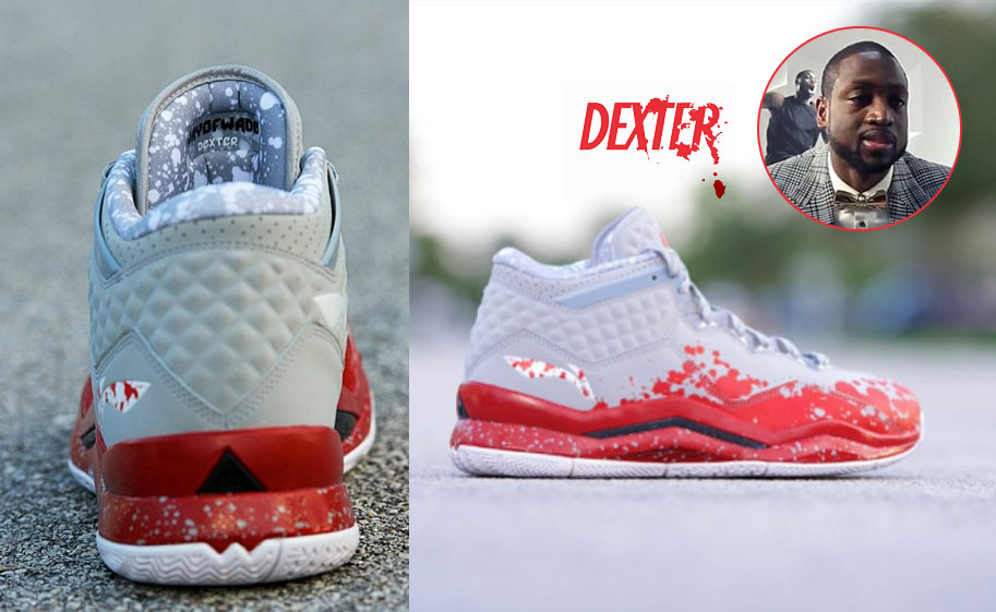 Dwyane Wade shows off his Dexter shoes