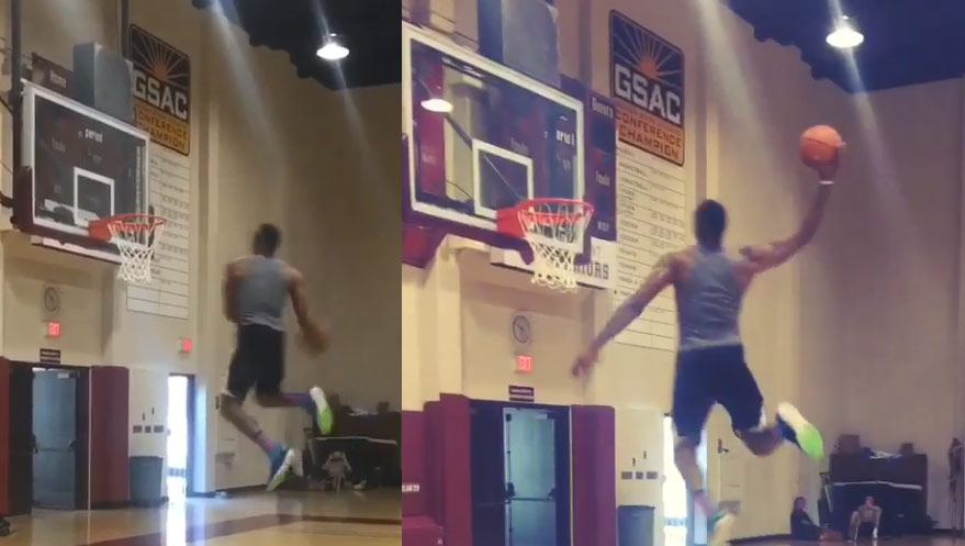 Dwight Howard shows off some post workout dunks including an off the wall windmilll