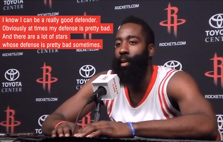 "James Harden admits his defense can be ""pretty bad"""
