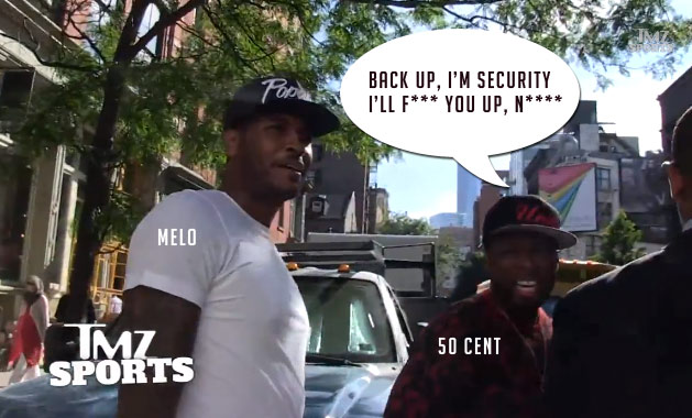 50 Cent protects Carmelo Anthony from TMZ by terrifying cameraman