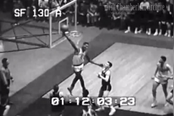 17-year old Wilt Chamberlain catching a shot & running the fast break