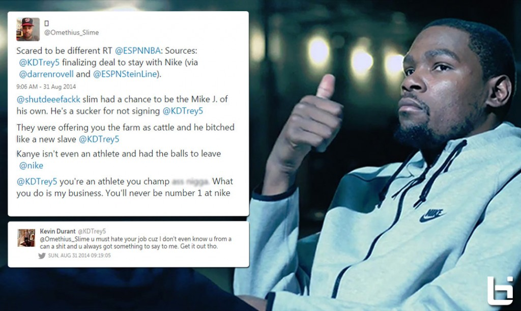 e0bf73b2f04a Kevin Durant responds to angry online fan after re-signing with Nike
