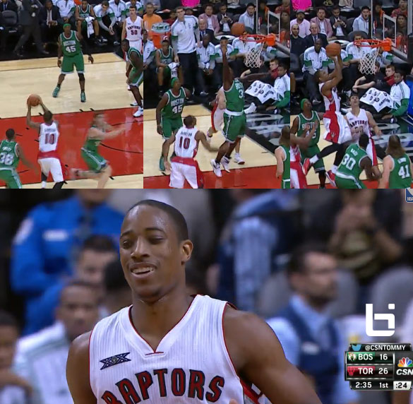 DeMar DeRozan with the self assist off the backboard – Kobe Style