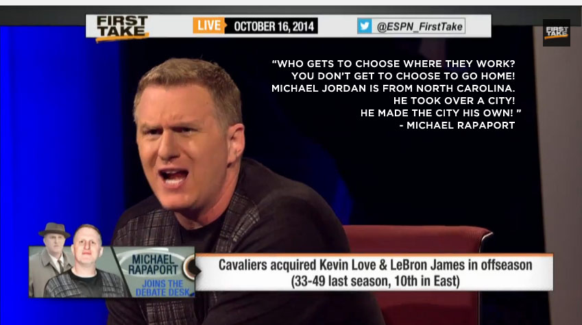 """Michael Rapaport goes off on LeBron's decision to """"go home"""" on ESPN 1st Take"""