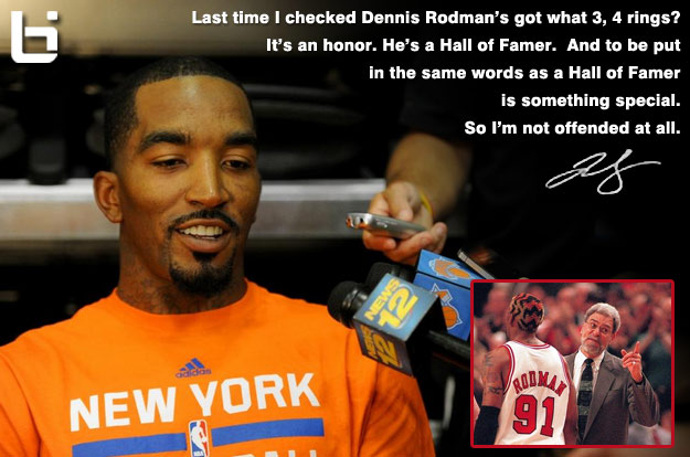"JR Smith says ""It's an Honor"" to be compared to Dennis Rodman in response to Phil Jacksons' comments"