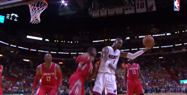 Chris Bosh hits an off-the-top-of-the-backboard circus shot vs the Rockets