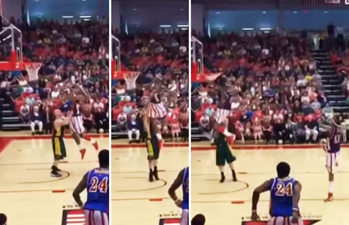 Insane game-winning windmill poster dunk in OT at Globetrotters game