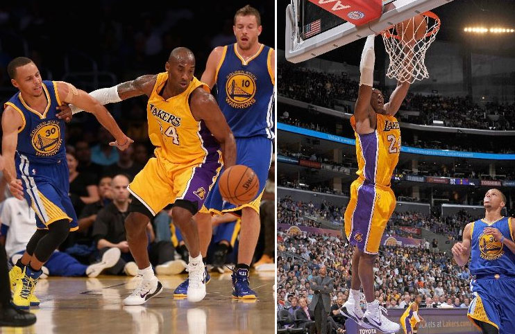 Kobe Bryant with an impressive steal/dunk/steal/assist sequence vs the Warriors