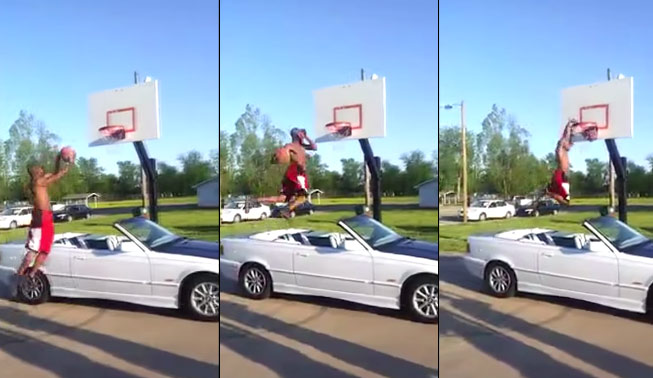 5'10 JeRamey Golden windmill dunks over a car