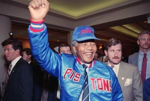 Nelson Mandela in a Detroit Pistons Hat and Jacket